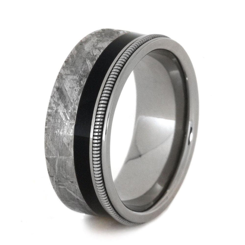 GUITAR RING WITH METEORITE AND EBONY WOOD, GUITAR STRING RING-3404 - Cairo Men's Wedding Rings