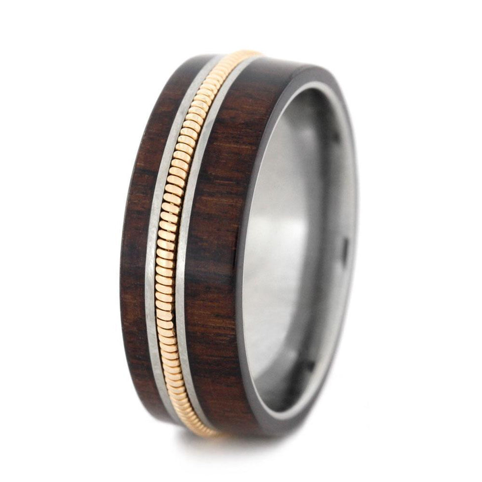GUITAR STRING JEWELRY WITH BOLIVIAN ROSEWOOD-3161 - Cairo Men's Wedding Rings