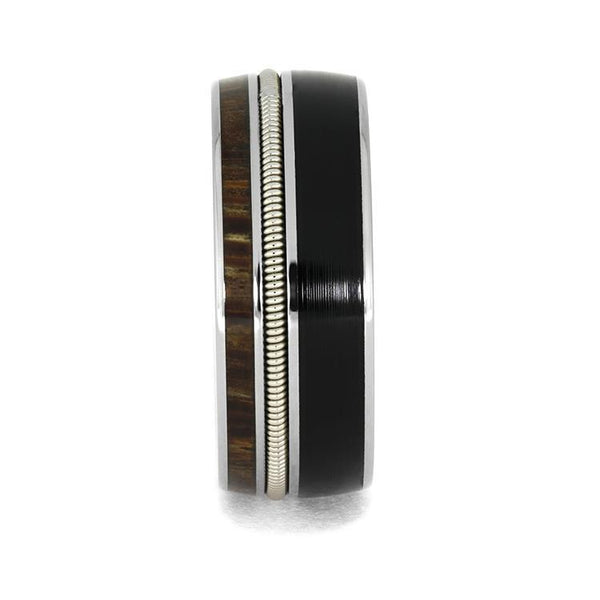 GUITAR STRING RING MADE WITH VINYL LP RECORD, PALM WOOD WEDDING BAND-3961 - Cairo Men's Wedding Rings