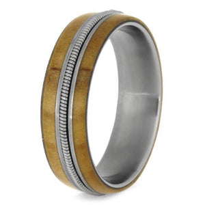 GUITAR STRING AND ROWAN WOOD WEDDING BAND IN TITANIUM-2655 - Cairo Men's Wedding Rings