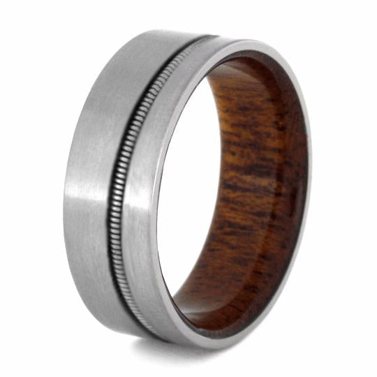 GUITAR STRING TITANIUM RING WITH MAHOGANY SLEEVE-3992 - Cairo Men's Wedding Rings