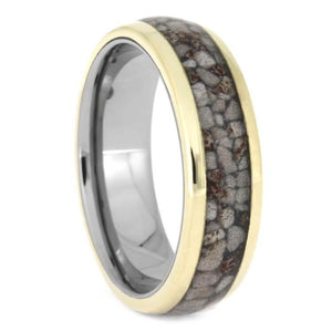 HANDMADE 14K YELLOW GOLD RING WITH CRUSHED DEER ANTLER-2603 - Cairo Men's Wedding Rings