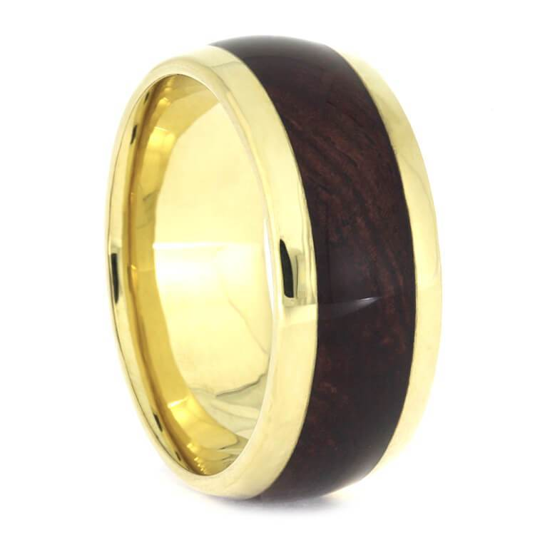 HONDURAN ROSEWOOD BURL WEDDING BAND IN 18K YELLOW GOLD-2553 - Cairo Men's Wedding Rings