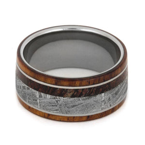 HONDURAN ROSEWOOD RING WITH METEORITE AND DINOSAUR BONE-3401 - Cairo Men's Wedding Rings