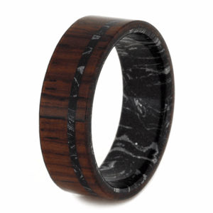HONDURAN ROSEWOOD WEDDING BAND WITH MOKUME SLEEVE-2041 - Cairo Men's Wedding Rings