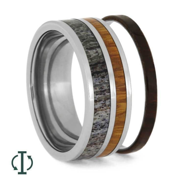 INTERCHANGEABLE ANTLER RING WITH TWO WOOD INLAYS, TITANIUM CORE D-3653 - Cairo Men's Wedding Rings