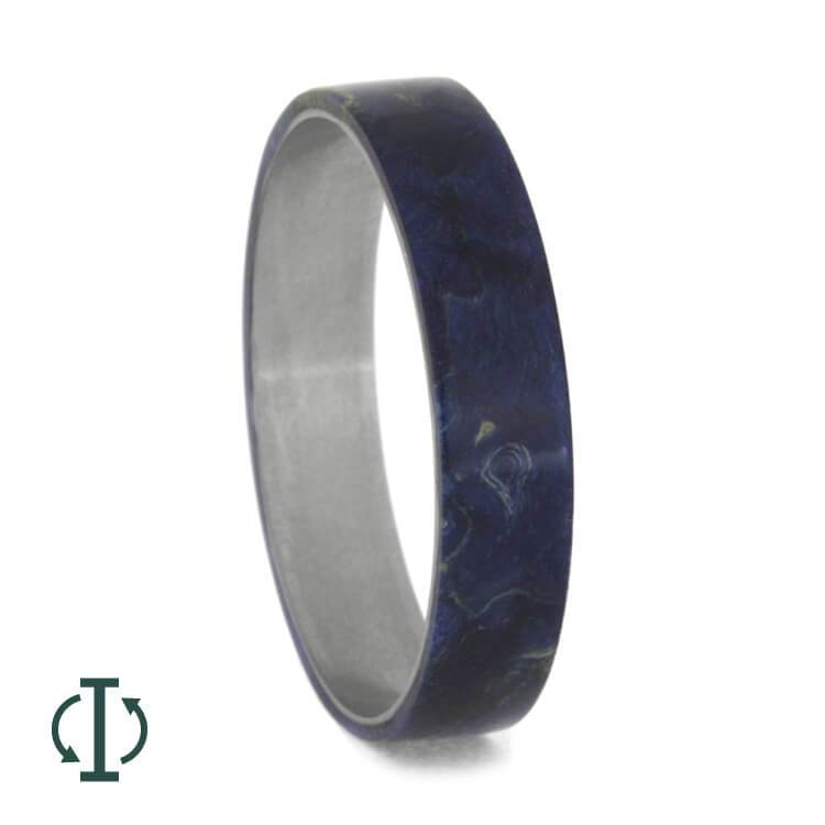 INTERCHANGEABLE BLUE WOOD RING, TITANIUM CORE B WITH BLUE BOX ELDER-3658 - Cairo Men's Wedding Rings