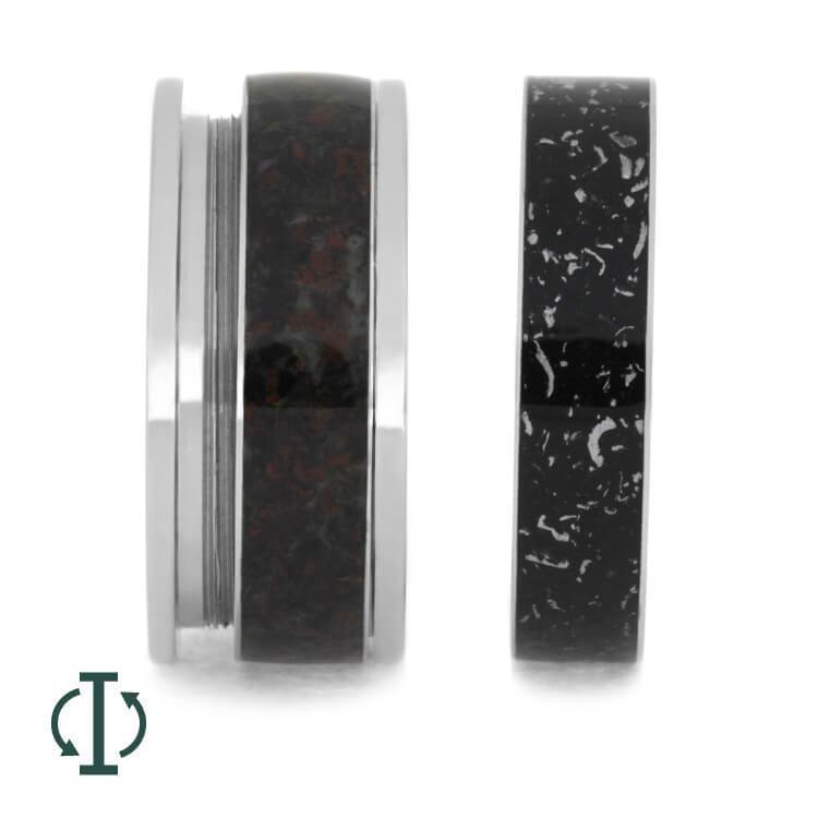 INTERCHANGEABLE DINOSAUR BONE RING WITH BLACK STARDUST-3657 - Cairo Men's Wedding Rings