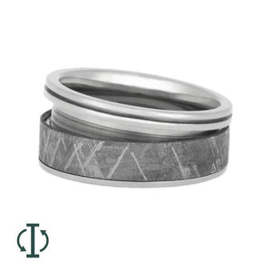 INTERCHANGEABLE METEORITE RING WITH GROOVED PINSTRIPE-2011 - Cairo Men's Wedding Rings