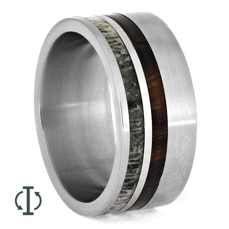 INTERCHANGEABLE RING WITH ANTLER AND COCOBOLO WOOD-1929 - Cairo Men's Wedding Rings