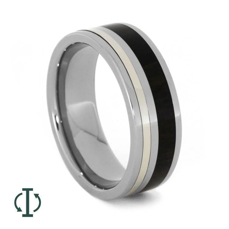 INTERCHANGEABLE RING WITH ZIRICOTE WOOD AND WHITE GOLD-2010 - Cairo Men's Wedding Rings