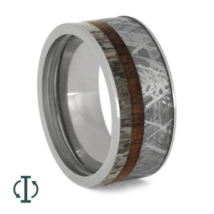 INTERCHANGEABLE RING, METEORITE, MANGOWOOD, AND ANTLER INLAYS-1261 - Cairo Men's Wedding Rings