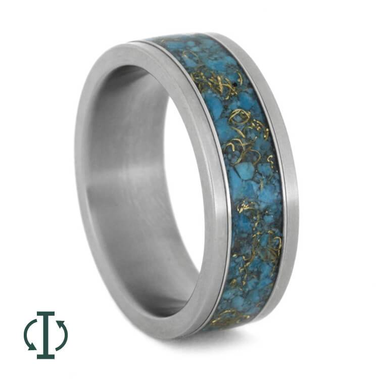 INTERCHANGEABLE RING, TURQUOISE & YELLOW GOLD INLAY-1745 - Cairo Men's Wedding Rings