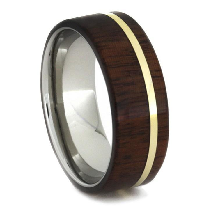 IPE WOOD RING, YELLOW GOLD PINSTRIPE OVER TITANIUM-1649 - Cairo Men's Wedding Rings