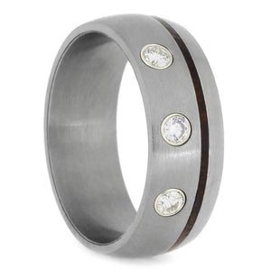 IPE WOOD WEDDING BAND WITH TITANIUM AND DIAMONDS-2374 - Cairo Men's Wedding Rings