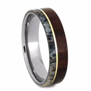 IRONWOOD RING WITH YELLOW GOLD PINSTRIPE, DEER ANTLER BAND-2258 - Cairo Men's Wedding Rings