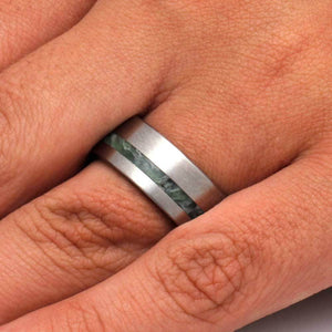 JADE RING, TITANIUM WEDDING BAND WITH WOOD SLEEVE-3229 - Cairo Men's Wedding Rings