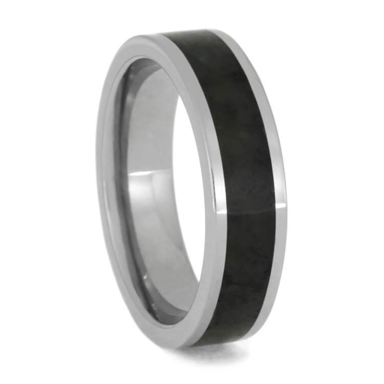 JADE WEDDING RING, BLACK JADE IN TITANIUM BAND-1419 - Cairo Men's Wedding Rings
