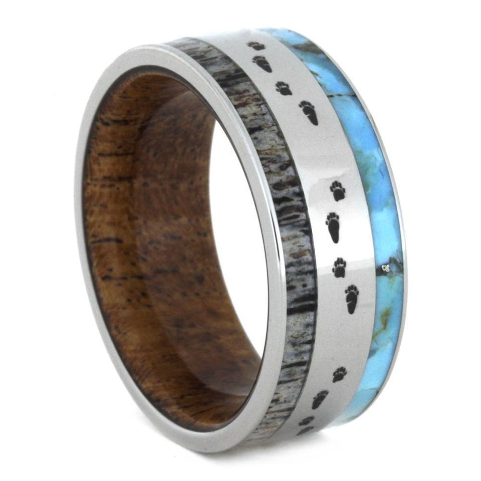 JEWELRY FOR HUNTERS, DEER ANTLER RING WITH TURQUOISE-3256 - Cairo Men's Wedding Rings