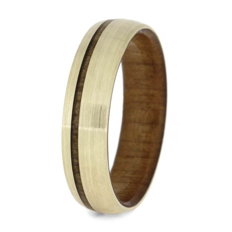 KAURI WOOD WEDDING BAND WITH BRUSHED YELLOW GOLD-3592 - Cairo Men's Wedding Rings