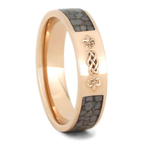 KNOT WEDDING BAND, CRUSHED DEER ANTLER RING-2299 - Cairo Men's Wedding Rings