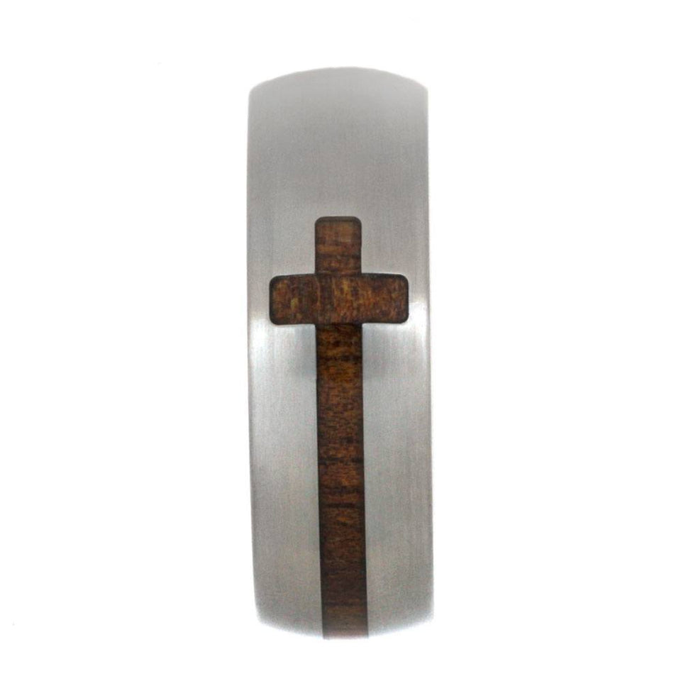 KOA WOOD CROSS RING IN TITANIUM-2842 - Cairo Men's Wedding Rings