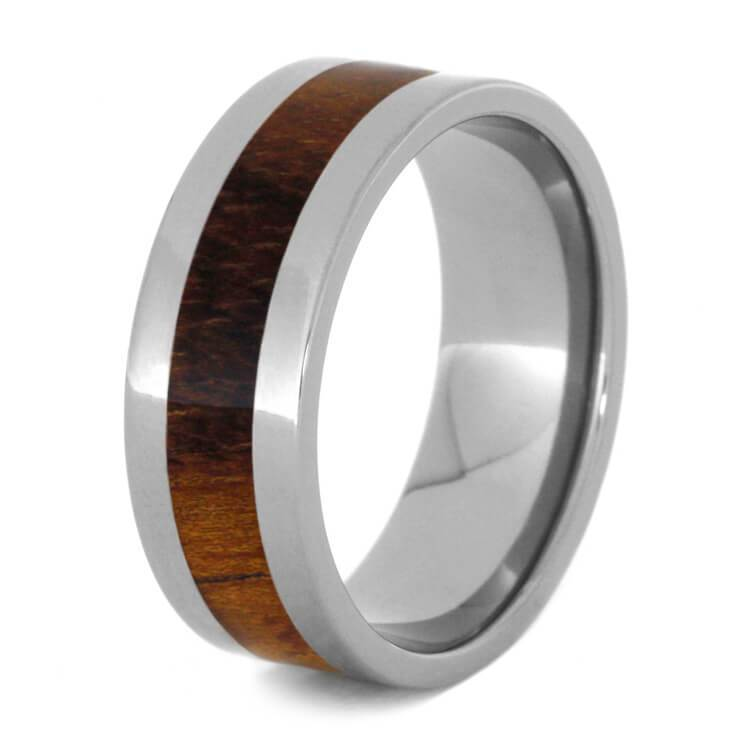 KOA WOOD ON A TITANIUM WEDDING BAND-1121 - Cairo Men's Wedding Rings