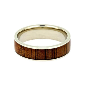 KOA WOOD AND WHITE GOLD WEDDING BAND-2727 - Cairo Men's Wedding Rings