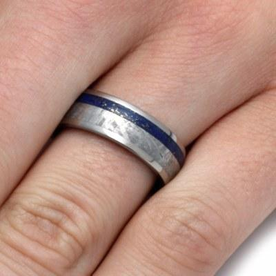LAPIS LAZULI RING WITH A COMPOSITE MOKUME GANE-2169 - Cairo Men's Wedding Rings