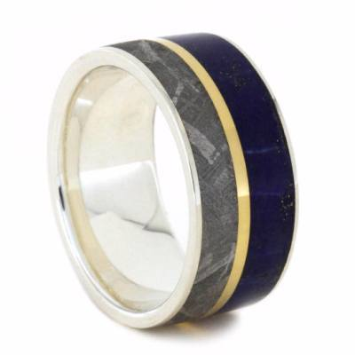 LAPIS LAZULI SILVER RING WITH METEORITE-2090 - Cairo Men's Wedding Rings