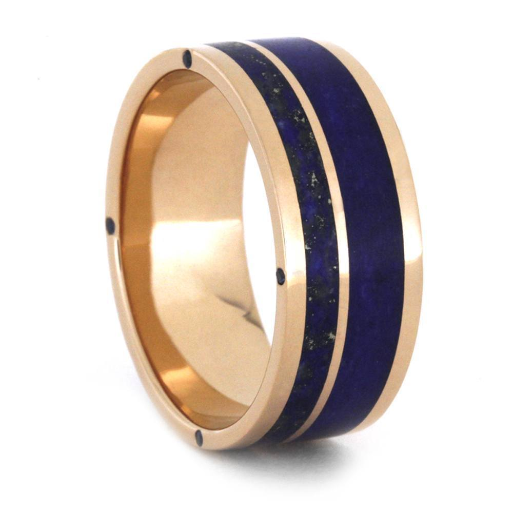 LAPIS LAZULI WEDDING BAND IN 14K ROSE GOLD-3410 - Cairo Men's Wedding Rings