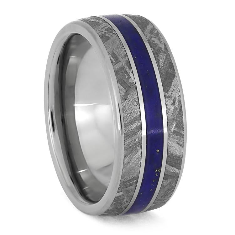 LAPIS LAZULI WEDDING BAND WITH METEORITE AND TITANIUM PINSTRIPES-3864 - Cairo Men's Wedding Rings