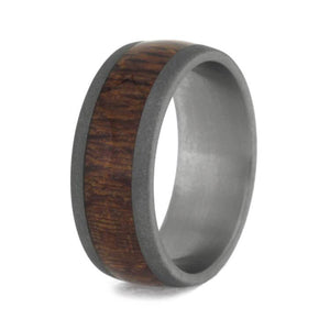 LEOPARD WOOD WEDDING BAND WITH SANDBLASTED TITANIUM-3702 - Cairo Men's Wedding Rings