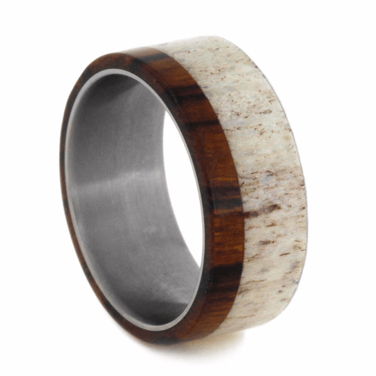 LIGHT DEER ANTLER WEDDING BAND WITH TITANIUM-2081 - Cairo Men's Wedding Rings
