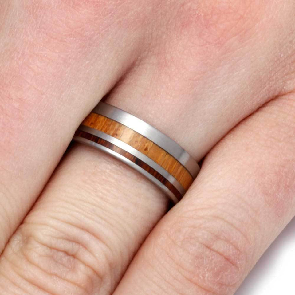 LIGNUM VITAE WOOD RING WITH IRONWOOD-2791 - Cairo Men's Wedding Rings