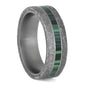 MALACHITE AND TITANIUM METEORITE MEN'S WEDDING BAND-4218 - Cairo Men's Wedding Rings