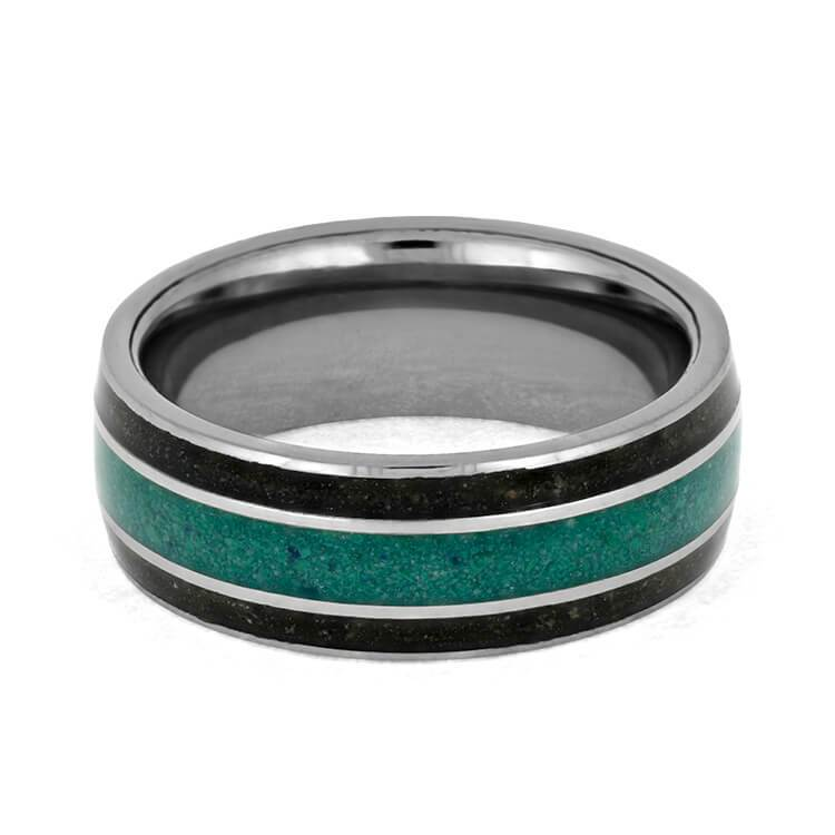 MALACHITE TUNGSTEN RING WITH DINOSAUR BONE-3685 - Cairo Men's Wedding Rings
