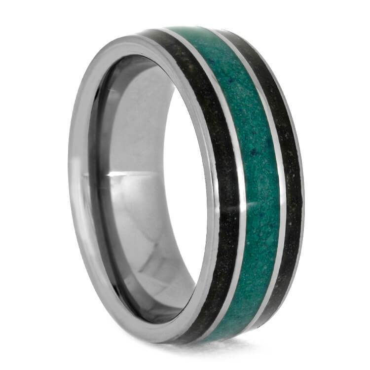 MALACHITE RING WITH BRUSHED TITANIUM-4221 - Cairo Men's Wedding Rings
