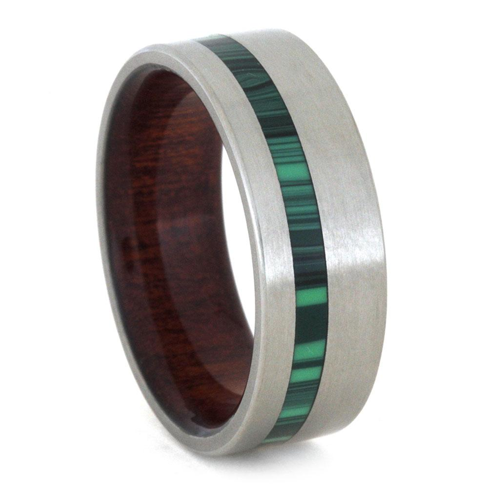 MALACHITE RING WITH INNER WOOD SLEEVE-3160 - Cairo Men's Wedding Rings