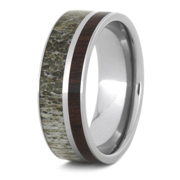 MANLY DEER ANTLER WEDDING BAND PAIRED WITH IRONWOOD-3499 - Cairo Men's Wedding Rings