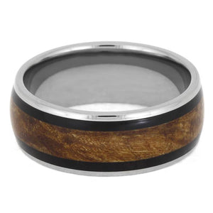MAPLE BURL WOOD RING WITH AFRICAN BLACKWOOD-2396 - Cairo Men's Wedding Rings