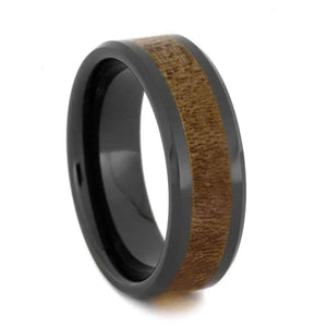 MAPLE WOOD RING, BLACK CERAMIC WEDDING BAND-2697 - Cairo Men's Wedding Rings