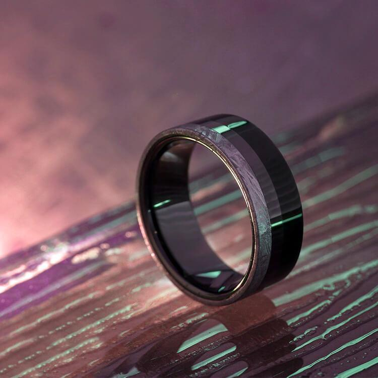 BLACK CERAMIC AND EBONY RING WITH METEORITE-2551 - Cairo Men's Wedding Rings