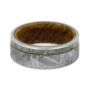 MEMORIAL RING WITH METEORITE AND WHISKEY BARREL SLEEVE-3751 - Cairo Men's Wedding Rings
