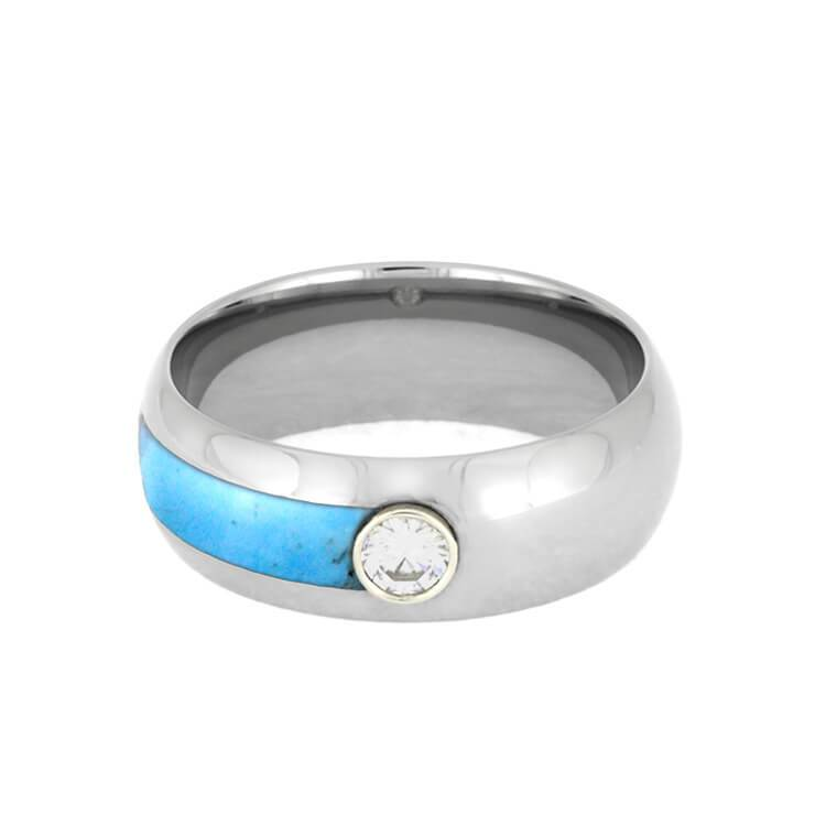 MENS ASYMMETRICAL TURQUOISE RING WITH MOISSANITE-3478 - Cairo Men's Wedding Rings