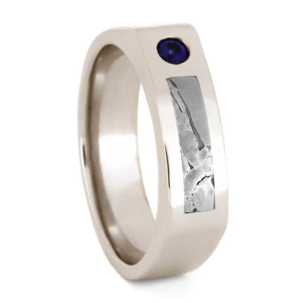 METEORITE AND BLUE SAPPHIRE WEDDING RING IN WHITE GOLD-3344 - Cairo Men's Wedding Rings