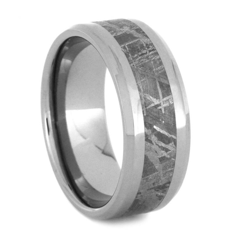 METEORITE WEDDING BAND, BEVELED TITANIUM RING-3767 - Cairo Men's Wedding Rings