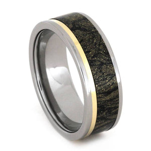MENS WEDDING BAND, BLACK AND GOLD MOKUME RING-3254 - Cairo Men's Wedding Rings