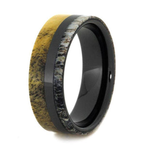 MENS WEDDING BAND, BLACK CERAMIC RING WITH ANTLER AND BUCKEYE BURL-2858 - Cairo Men's Wedding Rings