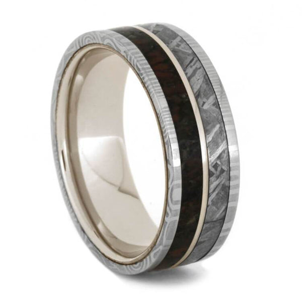 MENS WEDDING BAND DAMASCUS RING OVER WHITE GOLD WITH METEORITE-1839 - Cairo Men's Wedding Rings